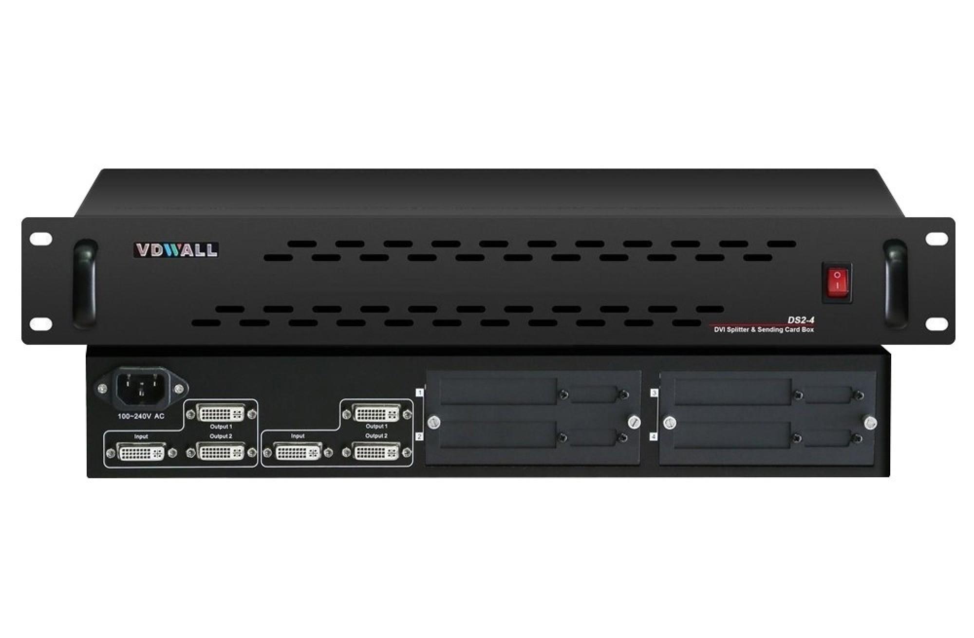 VDWALL DS2-4 DVI Splitter+Sending Card Signal Amplifying Controller Box