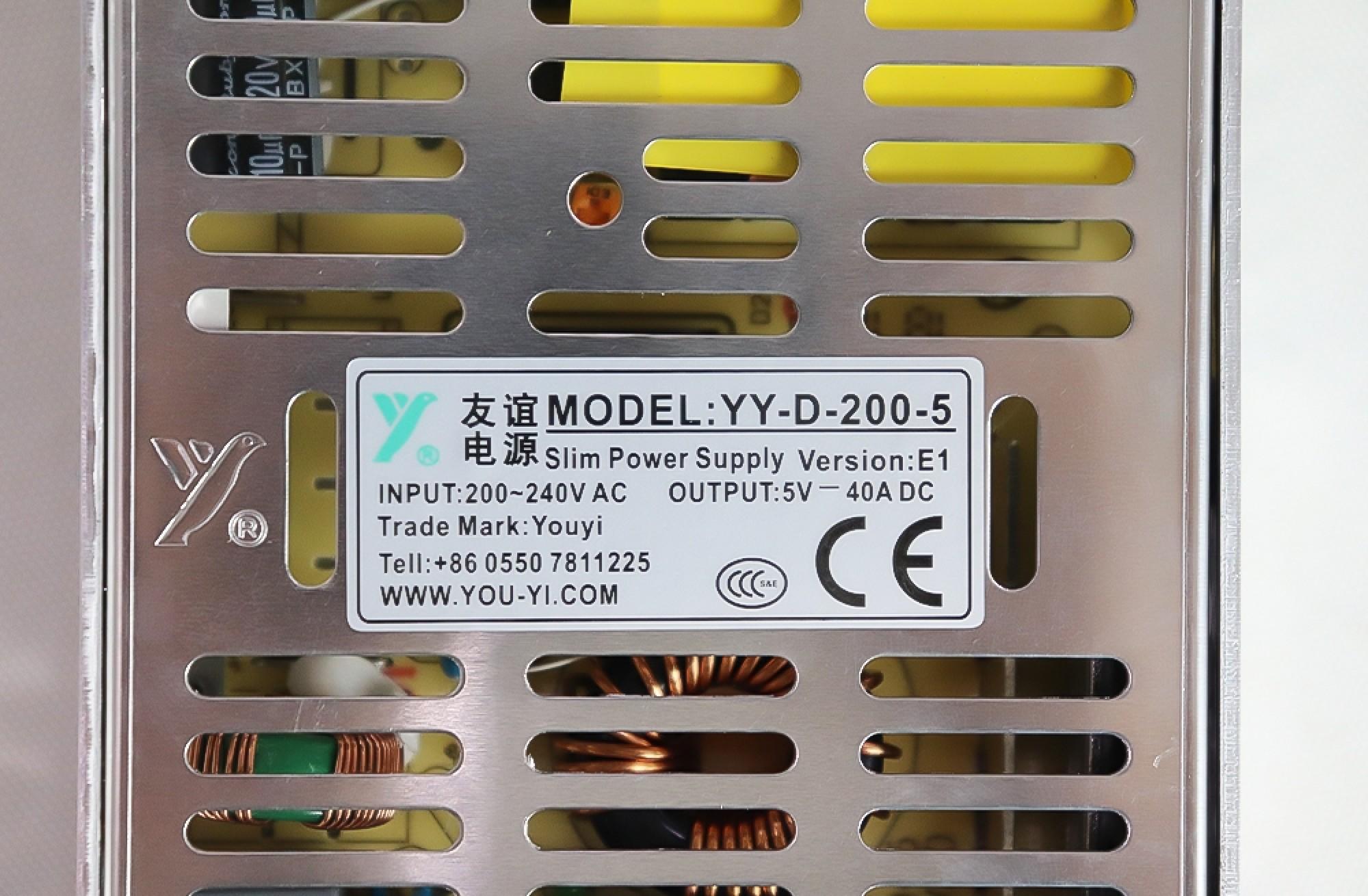 YOU-YI YY-D-200-5 5V40A 200W LED Power Supply