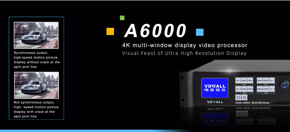 VDWall A6000 4K HDMI Input & 8 DVI Output HD Multi-window Video Processor