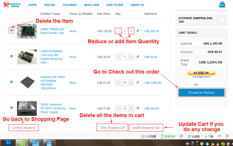 ledcontrollercard store how to buy- view cart